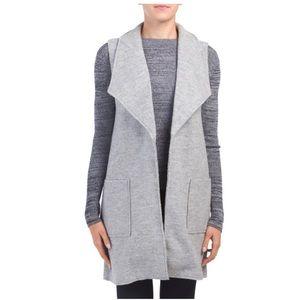 Tahari Wool Blend Gray Shaw Collar Vest - Sz M